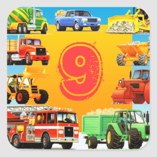 Custom Construction Truck 9th Birthday Party Favor Square Sticker