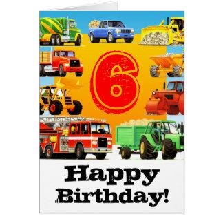 Custom Construction Trucks Boy's 6th Birthday Greeting Card