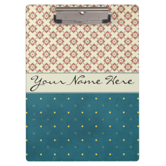 Custom Contemporary Floral Polka Dots Clipboard