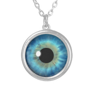 Custom Cool Blue Eye Iris Eyeball Fun Necklace