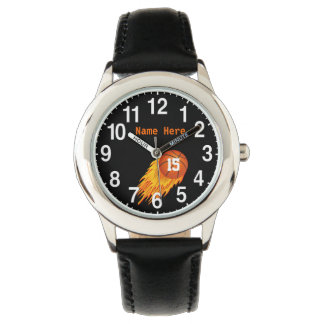 Custom Cool Flaming Basketball Watches for Boys