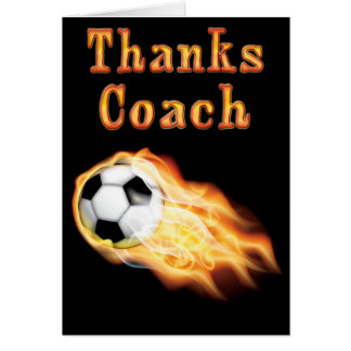Custom Cool Flaming Soccer Coach Thank You Card