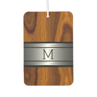 Custom Cool Metal Modern Trendy Wood Grain Pattern Car Air Freshener