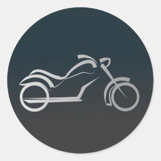 Custom Cool Silver Motorcycle Frame Black Round Sticker