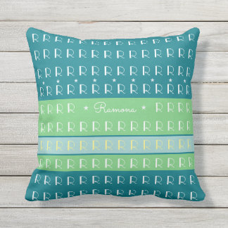 custom cool typography with pastel color stripes outdoor cushion