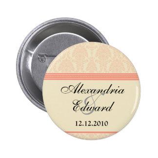 :custom: Coral/Cream Damask Bridal Round Badge