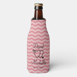 Custom coral pink chevron wedding bottle coolers