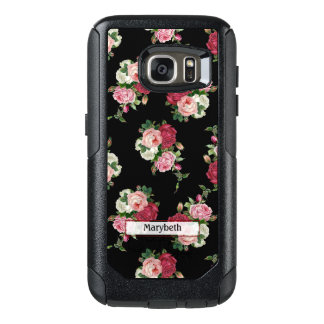 Custom Cottage Chic Black Floral OtterBox Samsung Galaxy S7 Case