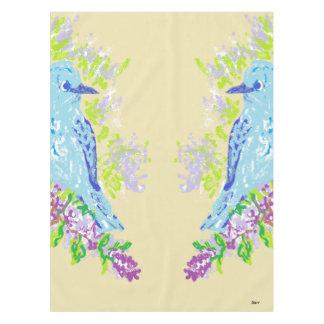 "Custom Cotton Tablecloth, 52""x70"" Blue Birds Tablecloth"