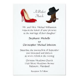 Custom Country Cowboy Boots High Heels Wedding 14 Cm X 19 Cm Invitation Card