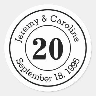 Custom Couple 20th Wedding Anniversary Modern Classic Round Sticker