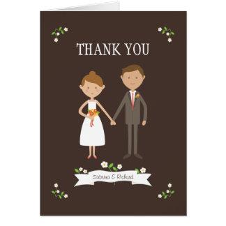Custom Couple Portrait Wedding Thank You Card