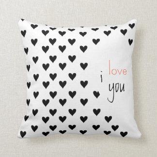 Custom Couples Black White Anniversary Valentine's Throw Pillow