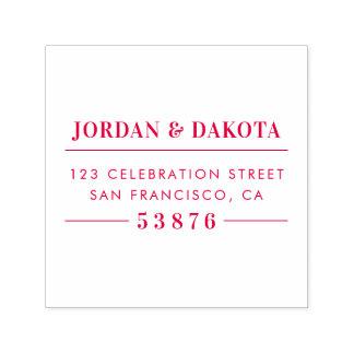 Custom Couple's Names Red Wedding Return Address Self-inking Stamp