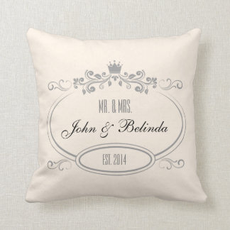 Custom Cream vintage retro frame Wedding Pillow