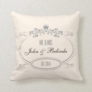 Custom Cream vintage retro frame Wedding Pillow Throw Cushions