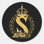Custom Crown Monogram - S Round Sticker