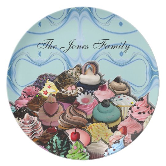 Custom Cupcakes Design (Blue) Plate