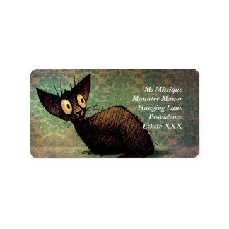 Custom Cute Black Oriental Cat Art Label