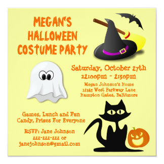 Custom Cute Fun Kids Ghost Halloween Party 13 Cm X 13 Cm Square Invitation Card