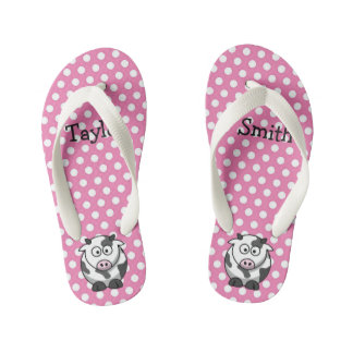 Custom Cute Funny Cartoon Cow Kid's Thongs