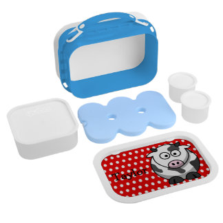 Custom Cute Funny Cartoon Cow Red Polka Dot Lunch Box