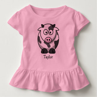 Custom Cute Funny Cartoon Cow Toddler T-Shirt
