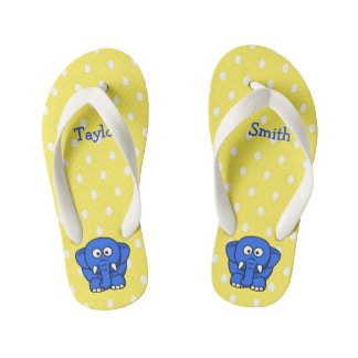 Custom Cute Funny Cartoon Elephant Kid's Thongs
