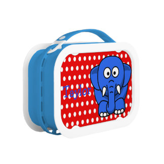 Custom Cute Funny Cartoon Elephant Red Polka Dot Lunch Box