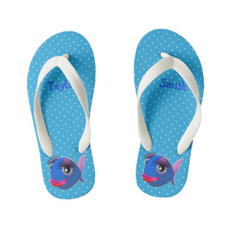 Custom Cute Funny Cartoon Fish Kid's Thongs
