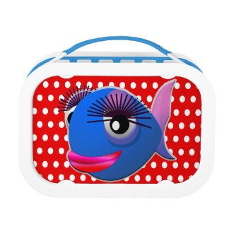 Custom Cute Funny Cartoon Fish Red Polka Dot Lunch Box