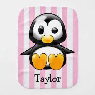 Custom Cute Funny Cartoon Penguin Burp Cloth