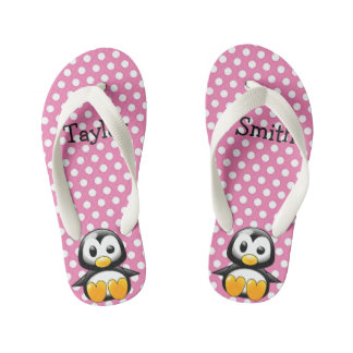 Custom Cute Funny Cartoon Penguin Kid's Thongs