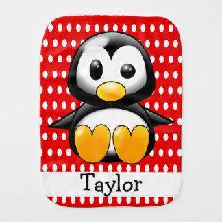 Custom Cute Funny Cartoon Penguin Red Polka Dot Burp Cloth