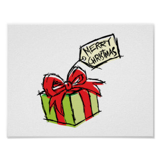 Custom Cute Gift Box with Merry Christmas Tag Card Posters