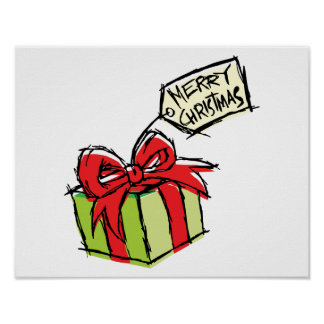 Custom Cute Gift Box with Merry Christmas Tag Card Poster