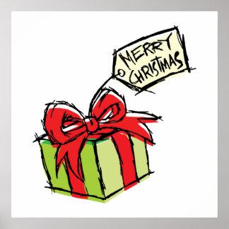 Custom Cute Gift Box with Merry Christmas Tag Card Print