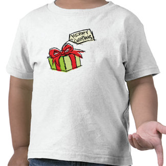 Custom Cute Gift Box with Merry Christmas Tag Kids Shirts