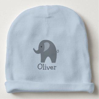 Custom cute gray elephant blue boy baby beanie hat