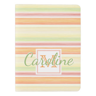 Custom Cute Happy Sunny Summer Watercolor Stripes Extra Large Moleskine Notebook