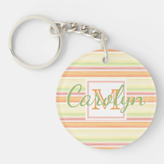 Custom Cute Happy Sunny Summer Watercolor Stripes Key Ring
