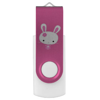 Custom Cute Pink Kawaii Bunny USB Flash Drive