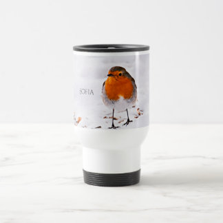 Custom cute Robin bird in snow add name Travel Mug