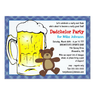 "Custom Dadchelor Party Invitations - Diaper Keg 5.5"" X 7.5"" Invitation Card"