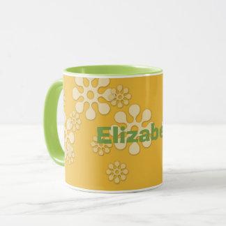 Custom Daisy Mug, yellow, green, personalized name Mug