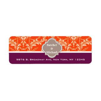 Custom Damask Pattern Return Wedding Address Label