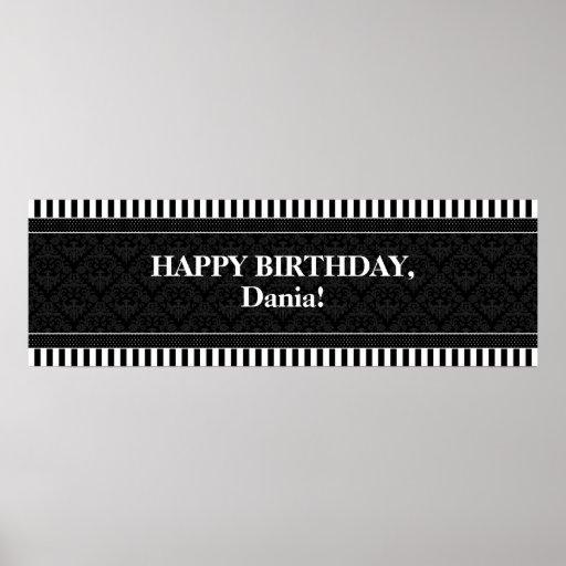 CUSTOM Damask Stripes Polka Dots Birthday Banner Print