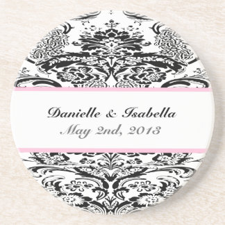 Custom Damask Wedding Coaster
