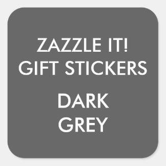 Custom DARK GREY SQUARE Large Gift Stickers