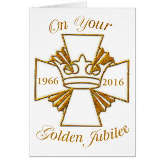 Custom Date Golden Jubilee Congratulations, Gold C Card